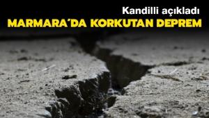 Marmara Denizi'nde deprem meydana geldi