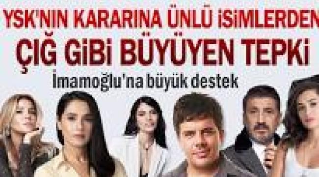 YSK'nin İstanbul kararına ünlü isimlerden tepki