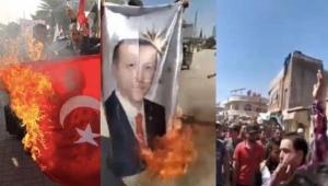Suriyeliler Erdoğan posteri ve Türk bayrağı yaktı