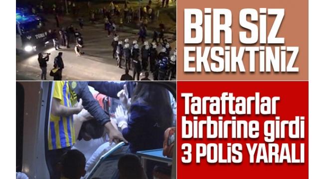 Ankaragücü - Beşiktaş maçı sonrası kavga! Polisler de yaralandı...