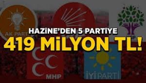 Hazine'den 5 partiye 419 milyon lira yardım yapılacak