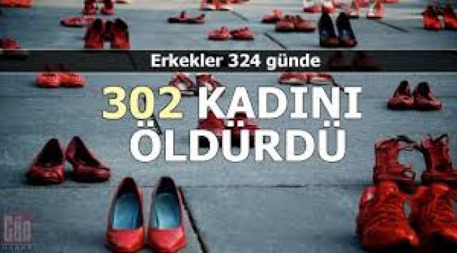 324 günde 302 kadının erkekler tarafından öldürüldüğü bir ülkede yaşıyoruz!