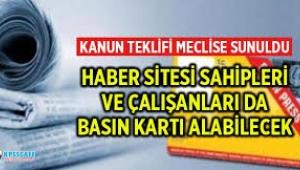 Haber sitelerinde çalışan gazeteciler için kanun teklifi
