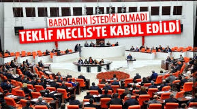 Çoklu baro düzenlemesi Meclis'te kabul edilerek, yasalaştı