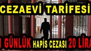 Cezaevi tarifesi: 1 günlük hapis cezası 20 lira