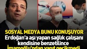 Erdoğan'a aşı yapan İmamoğlu'na benzetildi yanıt gecikmedi