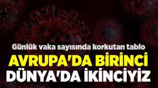 Türkiye günlük vaka sayısında Avrupa'da birinci, dünyada ikinci oldu!