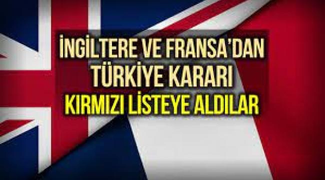 Fransa ve İngiltere'den Türkiye kararı