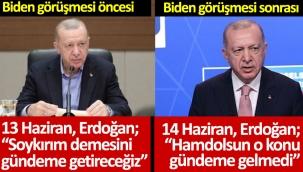 """Erdoğan'dan """"Biden'ın 1915 olaylarının soykırım olarak tanıması gündeme geldi mi?"""" sorusuna yanıt: Hamdolsun gelmedi"""