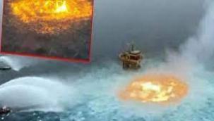 Meksika Körfezi'nde akılalmaz görüntü... Okyanusta büyük yangın!