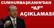 Başkan Erdoğan'dan kritik af açıklaması